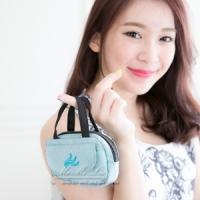 Mi-Mi-Leo 公事包造型零錢包-毛感珍珠雨-藍