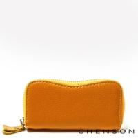 真皮 鑰匙包 多功能汽車拉鍊鑰匙包 男女 CHENSON 黃(W01002-L)