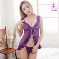 【AYOKA】魔幻紫魅!開襟薄紗二件式睡襯衣(NA09030103-1)