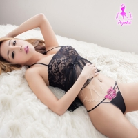 【AYOKA】立體刺繡花朵鏤空丁字褲(NA13010090)