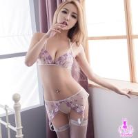 【AYOKA】吊襪帶 紫白雙色刺繡綁脖比基尼四件組(NA13030076-1)