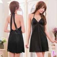 【AYOKA】性感睡衣 黑色繞頸式深V柔緞睡衣(NA16020032)
