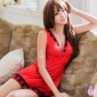 【AYOKA】性感睡衣 大紅深V柔緞刺繡睡衣(NA16020019)