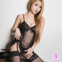 【AYOKA】性感睡衣 黑色網紗四件式長馬甲組(NA10030117)