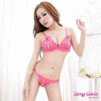 【Sexy Girls】情趣內衣 性感桃紅珍珠鍊比基尼二件組(CM-16002201)