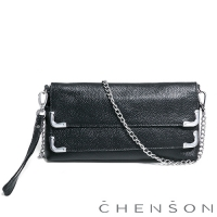 CHENSON真皮 愛拍照女生必備 雙層主袋隨身包 葡萄黑(LAL123007-3)