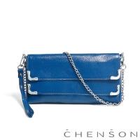 CHENSON真皮 愛拍照女生必備 雙層主袋隨身包 藍莓(LAL123007-9)