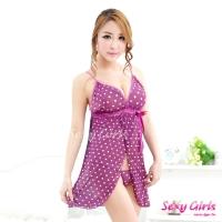 【Sexy Girls】情趣睡衣 紫戀深V白圓點二件式睡衣(CY-16000X13)