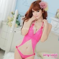 【Sexy Girls】情趣睡衣 性感蕾絲格子露臍連身衣(CM-16008802-R)