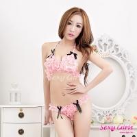 【Sexy Girls】情趣內衣 性感蕾絲透視比基尼二件組(CM-16002298-P)
