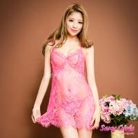 【Sexy Girls】情趣睡衣 性感透視深V露背二件式睡衣(CF-16001048-R)