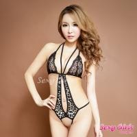 【Sexy Girls】情趣睡衣 性感開檔豹紋連身衣(CF-16007165)