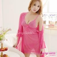 【Sexy Girls】情趣睡衣 性感吊帶睡裙透視內衣三件式睡衣(CE-16008870-R1)
