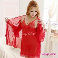【Sexy Girls】情趣睡衣 性感吊帶睡裙透視內衣三件式睡衣(CE-16008870-R)