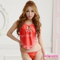 【Sexy Girls】情趣睡衣 古典刺繡荷花性感肚兜二件式睡衣(CE-16008917-R)