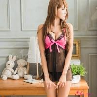 【Anna Mu】俏麗黑桃撞色網紗二件式睡衣(NA09020025)