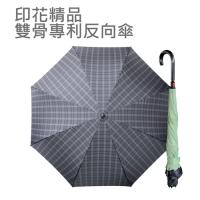 印花精品雙骨專利反向傘(時尚綠格)