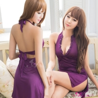 【Anna Mu】魅紫深V綁脖式柔緞睡衣(NA10020092-1)