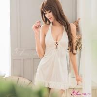 【Anna Mu】純白綁脖柔緞美背式睡衣(NA11020105)