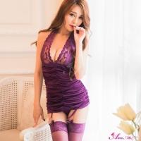 【Anna Mu】深紫迷情蕾絲四件式長馬甲組(NA08030167-3)