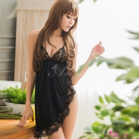 【Anna Mu】黑色柔緞側開襟二件式睡衣(NA08020096)