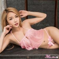 【Anna Mu】粉紅綁頸網紗開襟情趣比基尼二件組(NA13030027-5)
