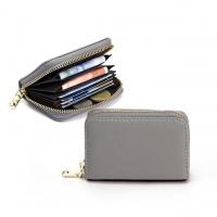 CHENSON 真皮 11卡一手握卡包/零錢包 麻灰(W00602-2)