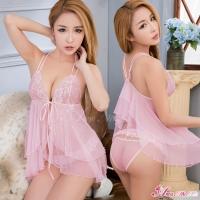 【Anna Mu】甜美粉紅透視柔紗開襟式二件式性感睡衣(NA16030010)