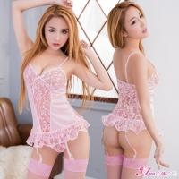 【Anna Mu】甜心粉紅緹花刺繡馬甲吊襪帶四件組(NA16030011)