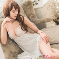 【Anna Mu】純白深V柔緞側開二件式睡衣(NA08020096-1)