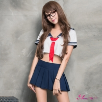【Anna Mu】短版水手服學生角色扮演服二件組(NA07030047)