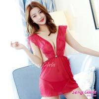 【Sexy Girls】情趣睡衣 性感深V透視誘惑二件式睡衣(CF-18007272-R)