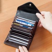 CHENSON 真皮11卡一手握信封卡包 黑(W00901-3)