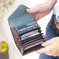 CHENSON 真皮11卡一手握信封卡包 藍(W00901-7)