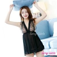 【Sexy Girls】情趣睡衣 性感深V透視睡裙二件式睡衣(CF-18007277-B)