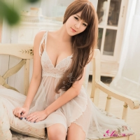 【Anna Mu】純白柔紗雙層開襟二件式睡衣(NA13020078)