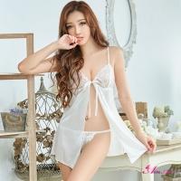 【Anna Mu】浪漫柔白前開襟二件式性感睡衣(NA11020029)