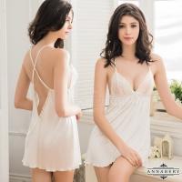 【ANNABERY】大尺碼 交叉美背白色柔緞二件式睡衣(NY14020077)