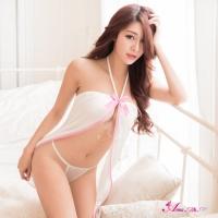 【Anna Mu】純白柔緞綁脖式前開襟二件式性感睡衣(NA10020093)