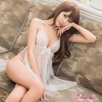 【Anna Mu】純白透視薄紗側開襟二件式性感睡衣(NA16020137)