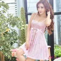 【Anna Mu】夢幻粉紅系緹花蕾絲二件式性感睡衣(NA13020072-1)