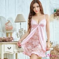 【Anna Mu】性感睡衣 甜美粉色系蕾絲柔緞二件式性感睡衣(NA09020006-2)