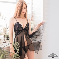 【ANNABERY】大尺碼 誘惑黑色透視柔紗開襟二件式性感睡衣(NY14020042-1)