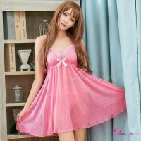 【Anna Mu】粉紅水玉點點雪紡二件式睡衣(NA16020066)