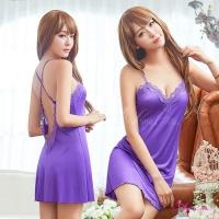 【Anna Mu】紫羅蘭深V柔緞交叉美背性感睡衣(NA16020027)