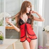 【Anna Mu】火辣紅黑撞色開襟二件式睡衣(NA10030089)