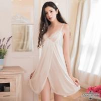 【ANNABERY】大尺碼 純白蕾絲側開襟柔緞睡衣(NY14020002-1)