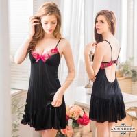 【ANNABERY】大尺碼 黑色柔緞挖空美背性感睡衣(NY16020062)