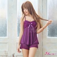 【Anna Mu】深紫居家甜美風睡衣短褲二件組(NA07050034-5)