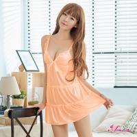 【Anna Mu】性感睡衣 浪漫粉橘柔緞蛋糕裙性感睡衣(NA12020001)